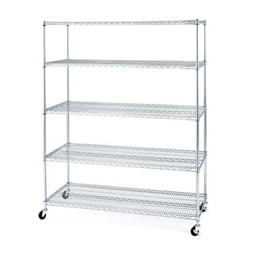 4 Layers Wire Shelving Rack With Wheels 48inchesx18inchesx72inches Chrome Plated