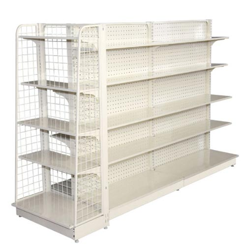 Supermarket shelves with hole backpanel