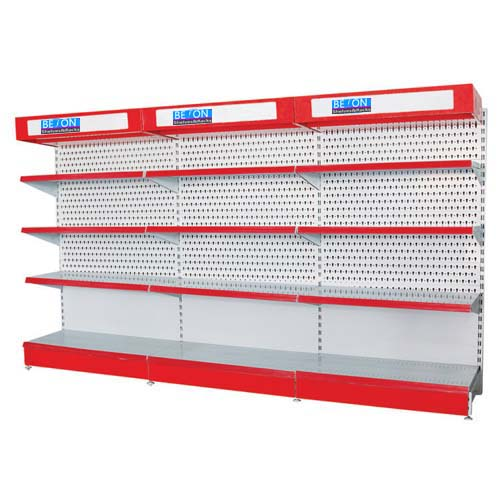 Shop display tool shelf with lightbox and header